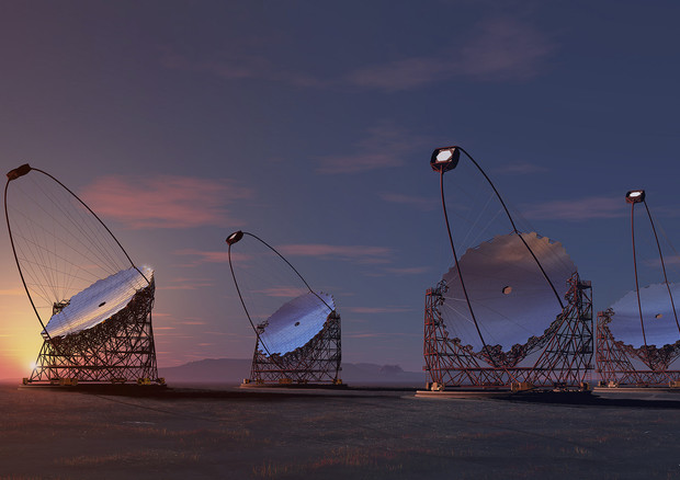 Rappresentazione artistica dei telescopi del Cherenkov Array (fonte: Akihiro Ikeshita, Mero-TSK, International, Flickr) © Ansa