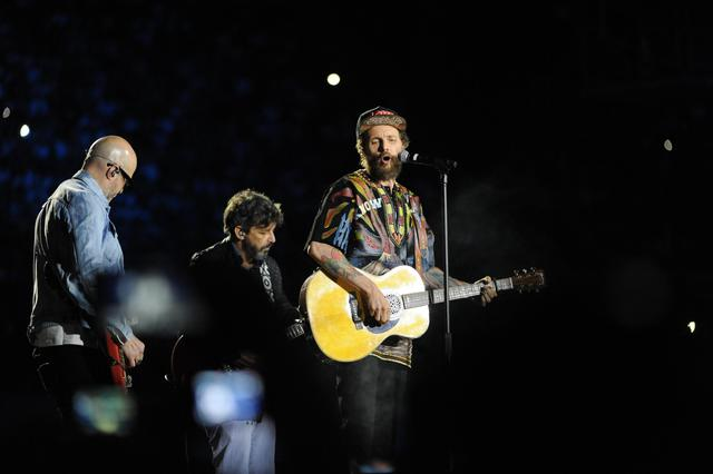 ITALIAN SINGER LORENZO JOVANOTTI PERFORMS ON STAGE DURING THE CONCERT-EVENT ?PINO ? IN TRIBUTE TO LATE ITALIAN SINGER-SONGWRITER PINO DANIELE AT THE SAN PAOLO STADIUM IN NAPLES, ITALY, 07 JUNE 2018. © ANSA